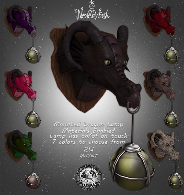 NeverWish Mounted Dragon Head Lamp