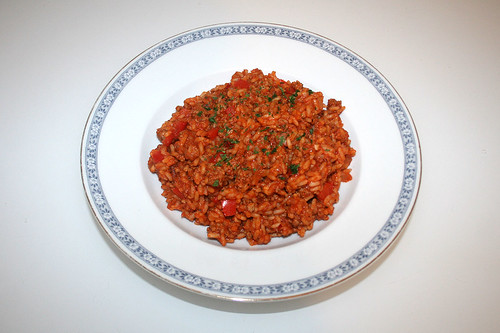 37 - Ground meat tomato rice - Served / Hackfleisch-Tomatenreis - Serviert