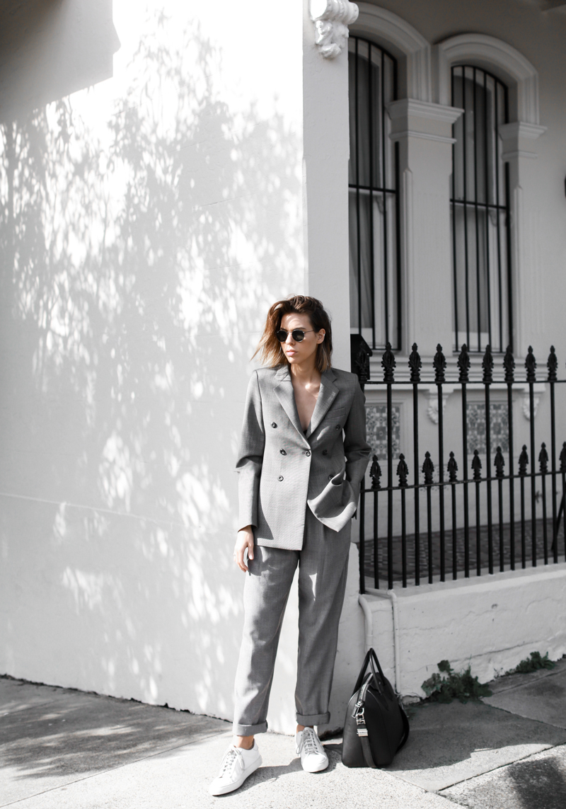 modern legacy, fashion blog, grey, street style, suit, sneakers, Givenchy Antigona medium, Kym Ellery, MyChameleon, minimal, monochrome (1 of 1)
