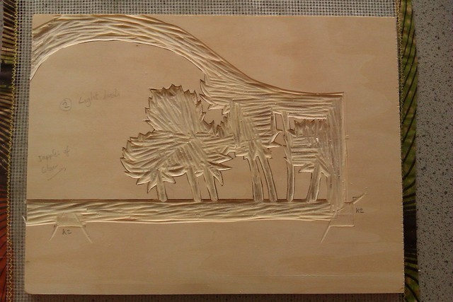 A piece of wood carved for printing