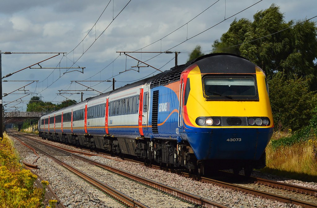 43073 and 43075 scream past Rossington with 1A33, the 13:45 service from leeds to London Kings Cross on the 4th of August 2015