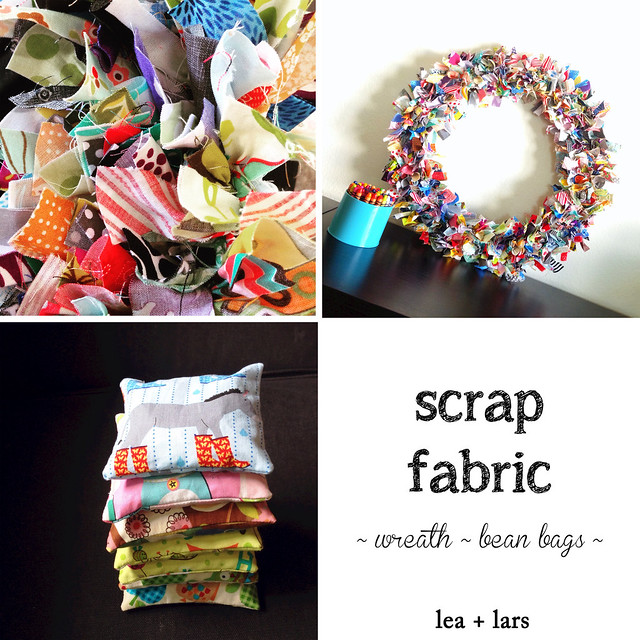 scrap fabric wreath bean bag