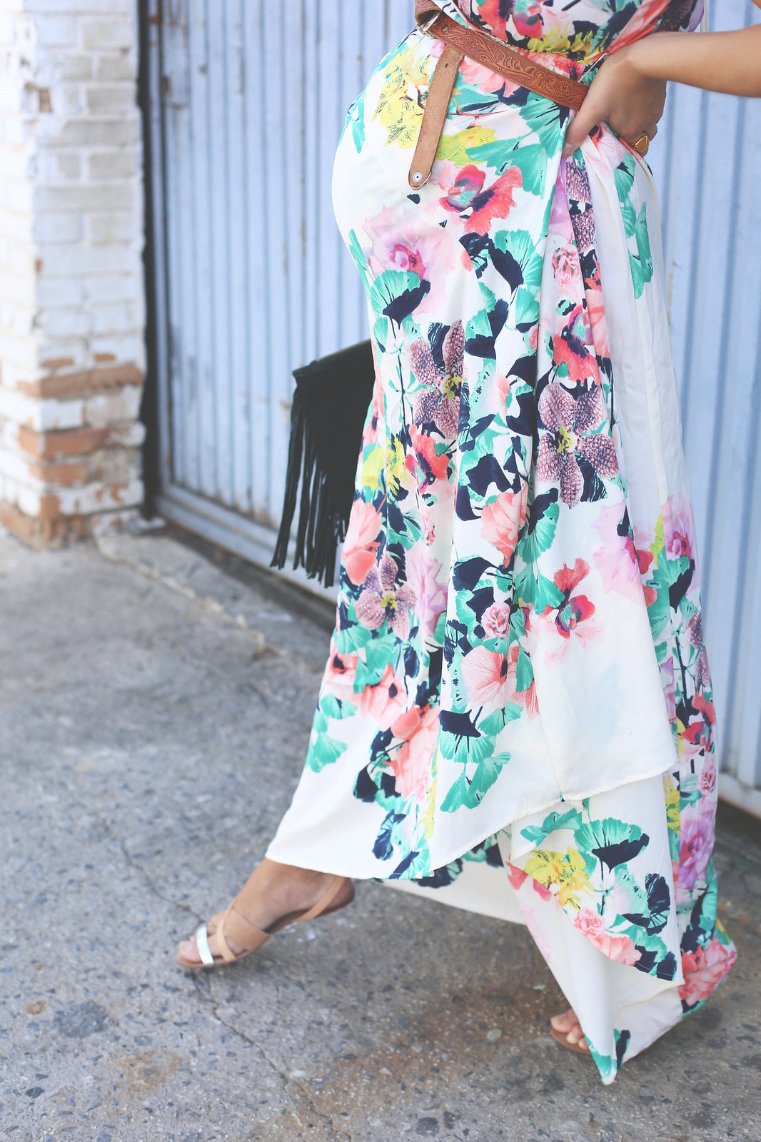 9. long floral boho folk dress - jessie chanes - pregnancy