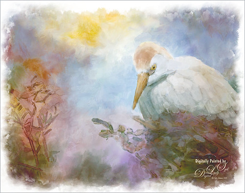 Image of a Cattle Egret painted as a digital watercolor