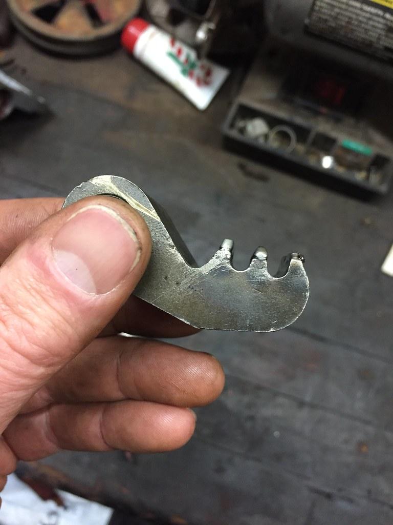 Teeth welded up on pawl