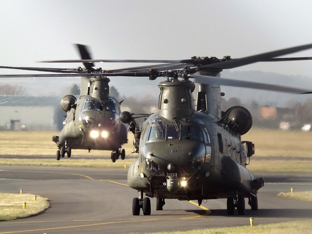 ZD982 With ZA720 Two Chinooks Helicopters