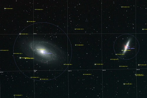 L+Ha image of M81 (Bode's Galaxy) & M82 (The Cigar Galaxy) in Ursa Major - Annotated