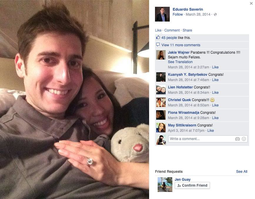 Who precisely did Facebook co-founder, Eduardo Saverin, get engaged to? Rachel Kum or Elaine Andriejanssen? - Alvinology