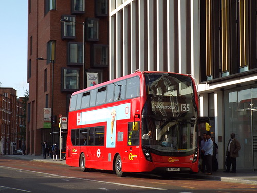 Go-Ahead London (Docklands Buses) EHV7, BL15HBO at Old Street on route 135 to Crossharbour