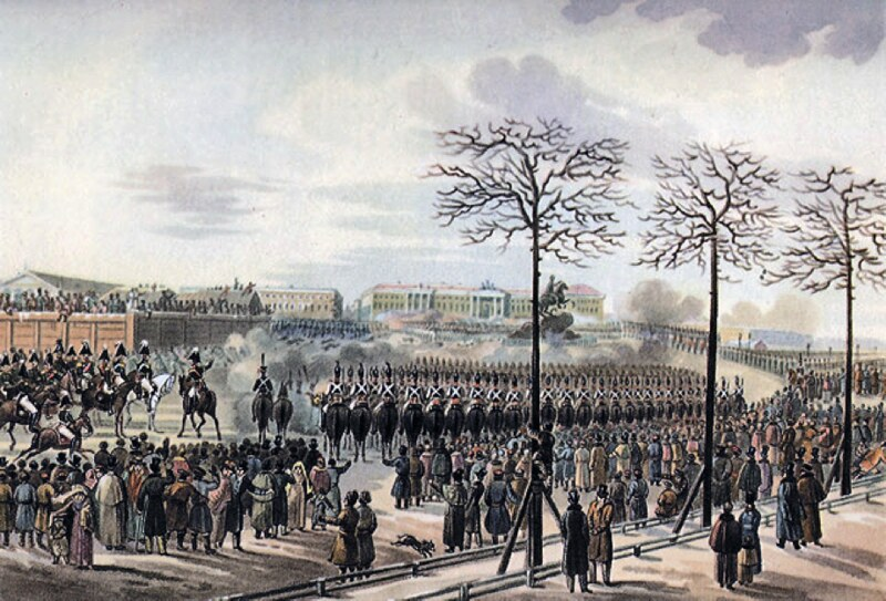 "Decembrist revolt depicted on ""Saint Petersburg (Russia), Senate Square"" by painter Karl Kolman"