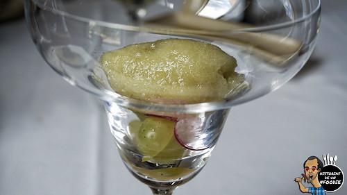 Sorbete de manzana verde, pepino y apio con un poquito de rábano y uva - Casa Elena