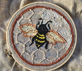 Punch needle embroidery bee