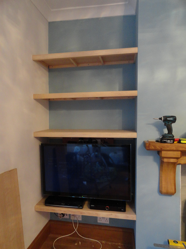 ... building some alcove shelves in my living room this last week and I'm  at the point where the first set is ready to be put together and finished  off.
