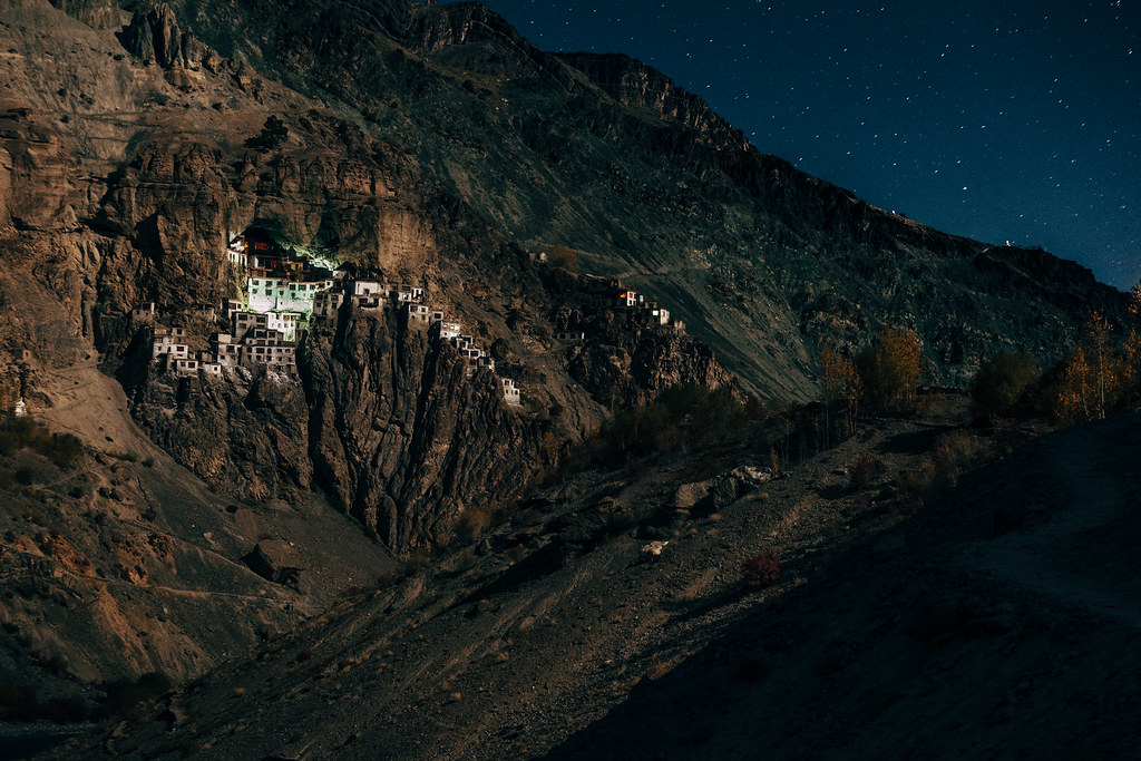 Phuktal Monastery under the moonlight. Indian Himalayas of Zanskar.