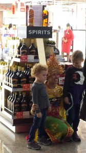 Photo opp with the kids in front of the spirits at Duty free!