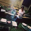 Lydia in her natural habitat--grilling...tonight flank steak (for later this week) & lamb chops (for tonight.