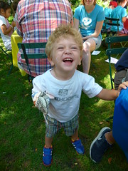 This little guy had a blast making his puppet!