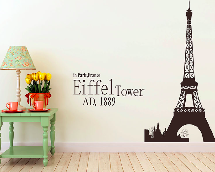 Large eiffel tower room decal wall sticker