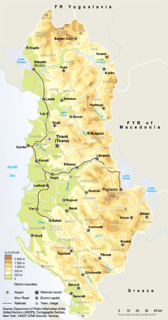 Albania Topographic Map With Railroad Routes GRIDArendal - Albania map