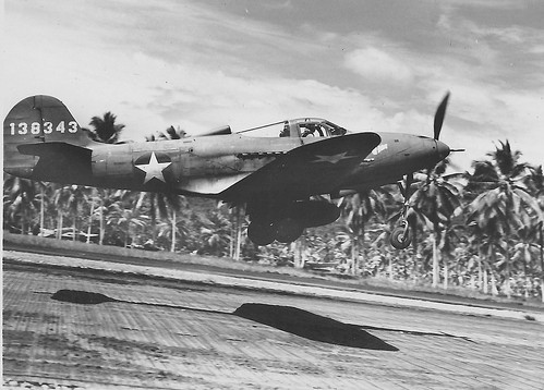 Bell P-39d Airacobra 35-th 8 fighter squadron of  61st Group 5-th air army takes off from an airfield on Papua New Guinea 1943.
