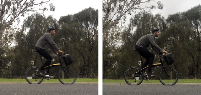 Tall Cyclist on Folding Bike