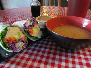 Hummus Roll (with peanut sauce_ and Miso Soup from Koriente