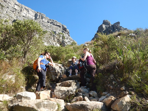 Taking a rest on the way up, Table Mountain hike