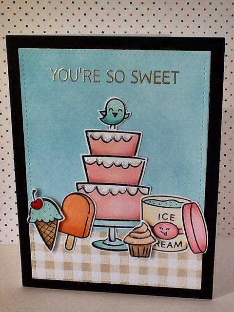 Lawn Fawn, using Bake Me A Cake, Treat Yourself, Best Pun Ever, Sweet Smiles, Year Four, and Stitched Rectangles.