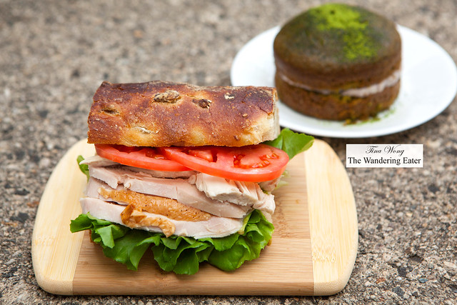 Roast chicken sandwich with matcha cake