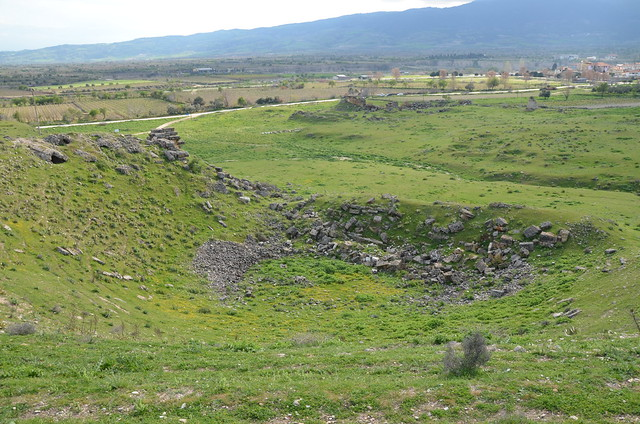 The theatre built on the natural hill with a slope of 50 degrees, it had a capacity of 8,000, Tripolis on the Meander, Lydia, Turkey
