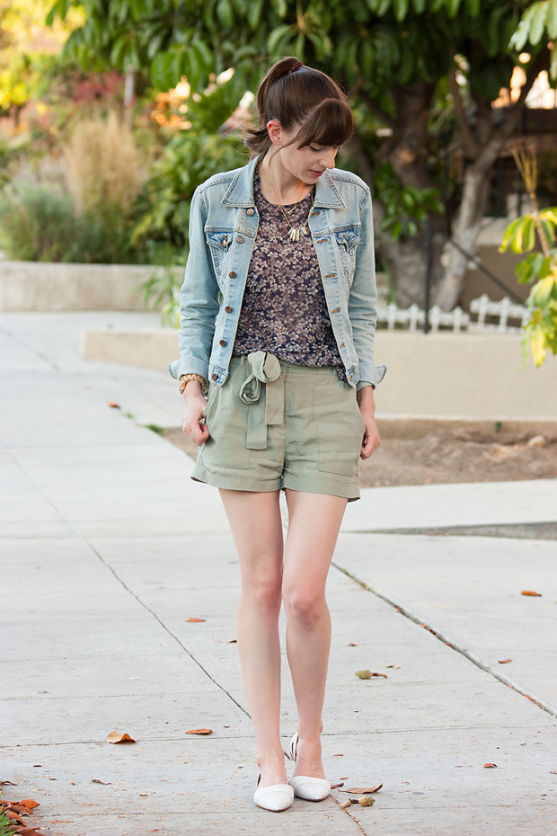 Silk Floral Blouse, Gap Tie Shorts, Denim Jacket, Madewell Flats