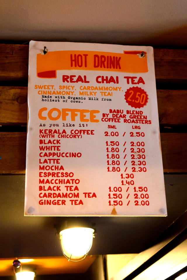 Tea Menu at Babu Bombay Street Kitchen, Glasgow