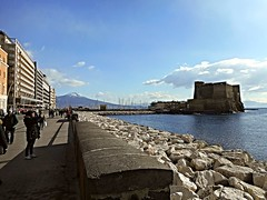 Vesuvius and Castle of the Egg - Sea front of Naples