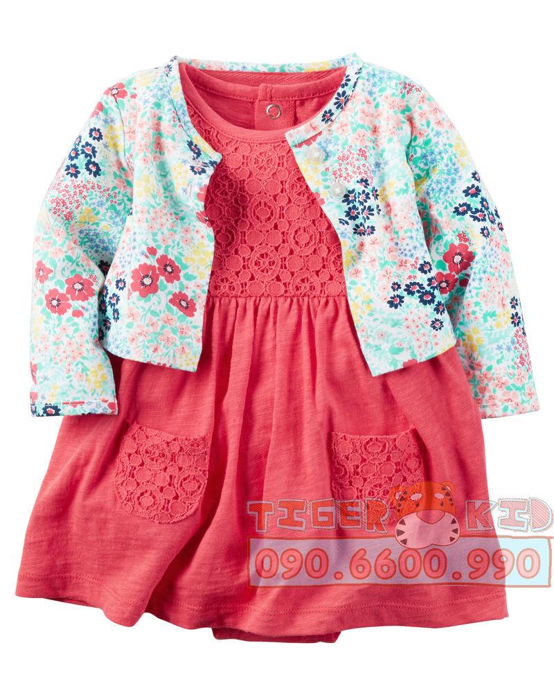 Quần áo trẻ em, bodysuit, Carter, đầm bé gái cao cấp, quần áo trẻ em nhập khẩu, 520- Set Body đầm kèm áo khoác Carter's nhập Mỹ