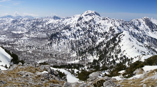 orjen mountorjen mtorjen mountain mountaineering republikasrpska trebinje nature landscape outdoor snow sky trees mountainrange peaks