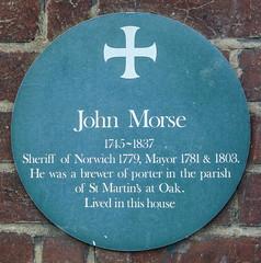 Photo of John Morse green plaque