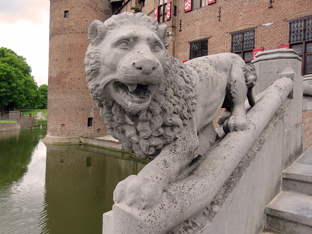 A Statue of a Lion Graces the Stairway at Kasteel de Haar near Utrecht, Holland