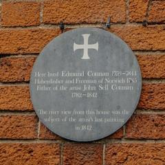 Photo of Edmund Cotman green plaque