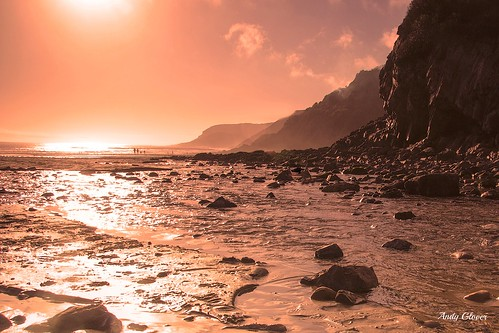 sunset sea reflection beach wales canon eos coast sand south sigma gower caswellbay 60d