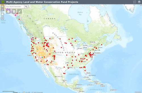 Multi-Agency Land and Water Conservation Fund Projects map screenshot