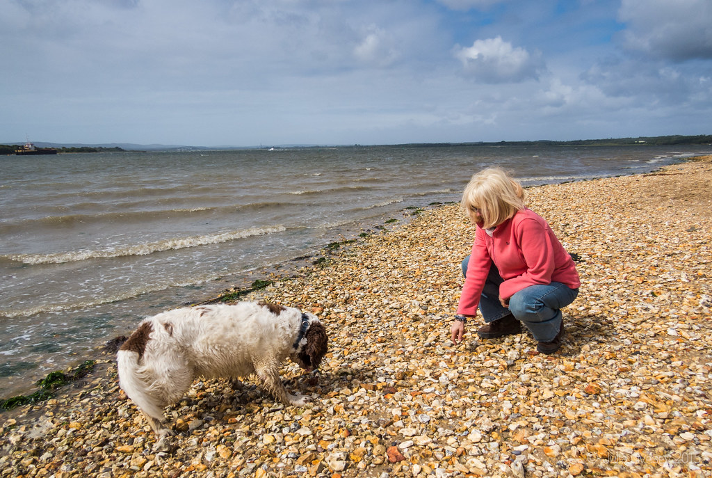 Linda and Max on the beach