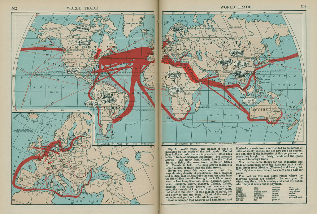 Map World Trade 1936 From The 1936 Textbook Human Use Flickr