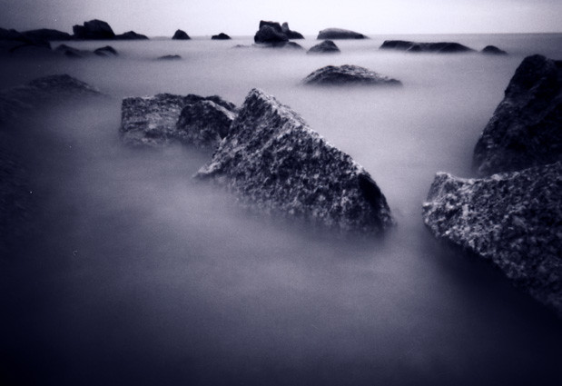 rocks in the sea - Malaysia (pinhole photo)