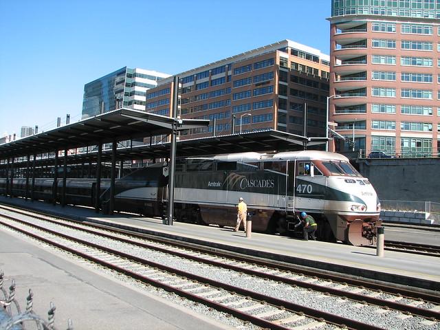 Amtrak Cascades Train At Seattle King Street Station