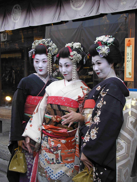 Women dressed as 'maiko' in Kyoto