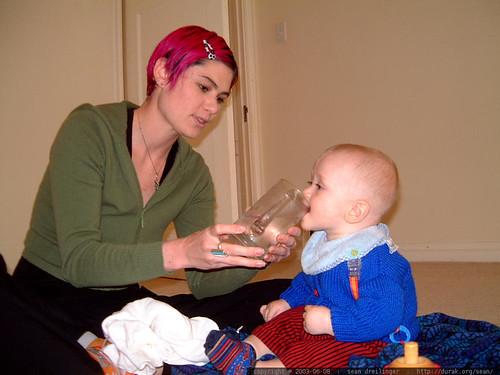 rachel helps nick drink from a glass   dscf5246