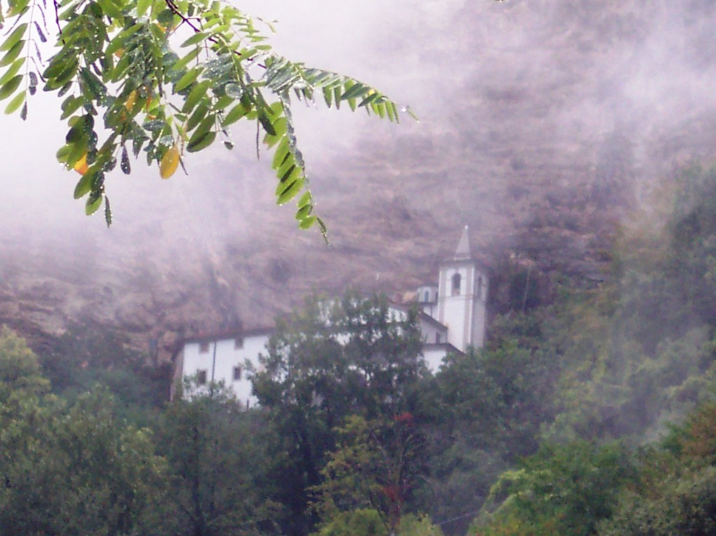 Tuscan monastery in the mist