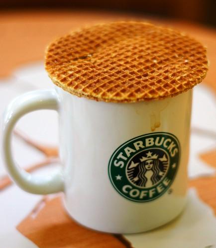 Starbucks and caramel waffle
