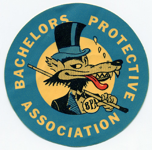 Bachelors Protective Association Decal, 1950's