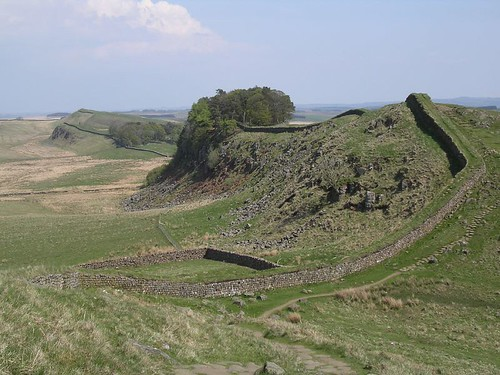 The classic view of Housesteads Crag from Cuddy's Crags